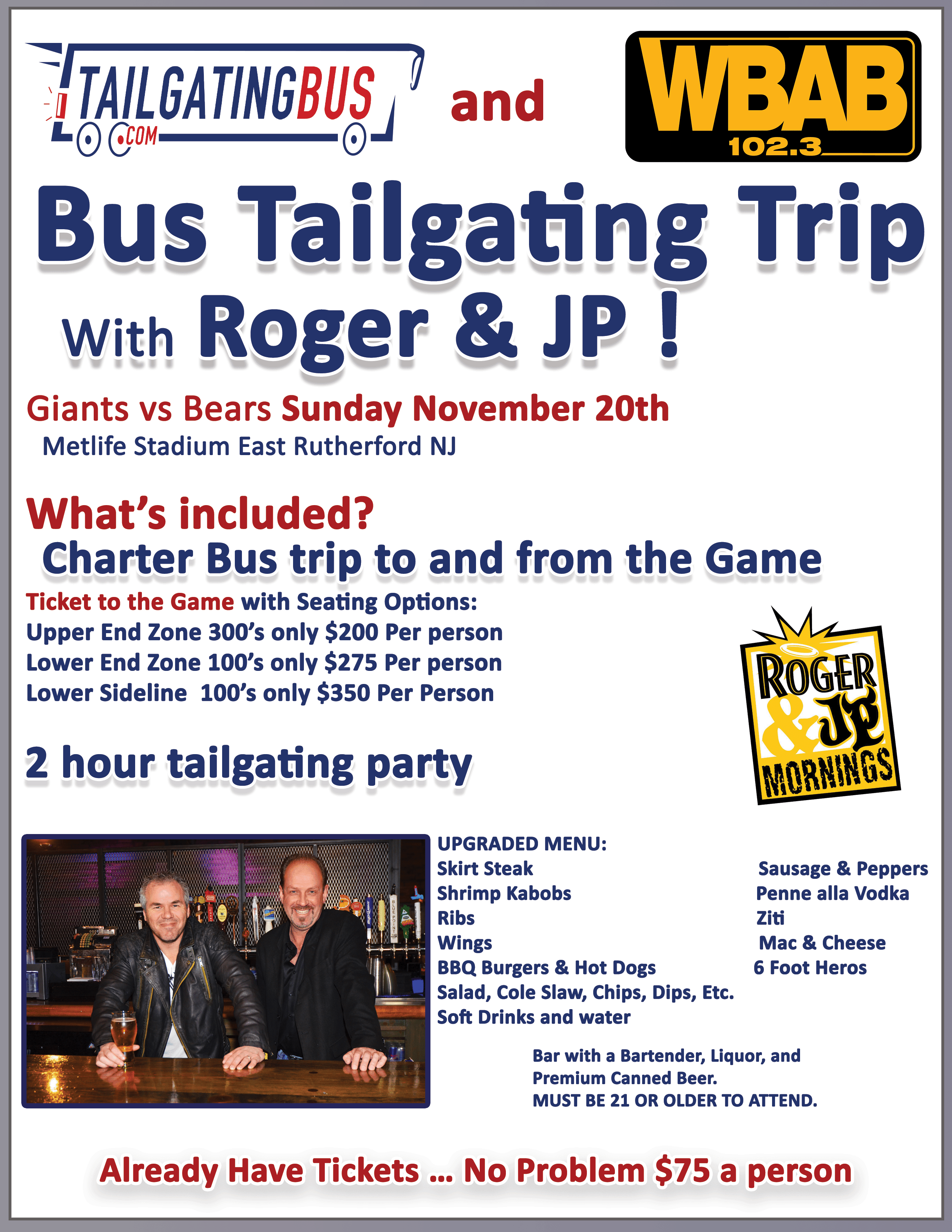 WBAB 102.3 tailgating bus trip with roger & JP